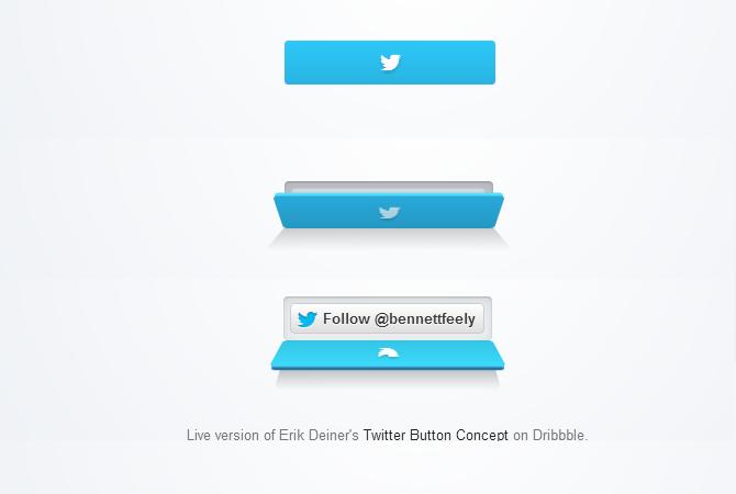 Un bouton twitter à la sauce 3D