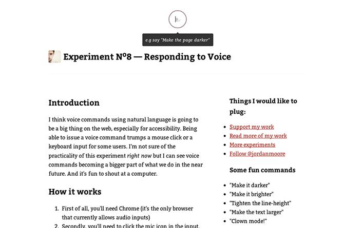 Responding to Voice : un outil de commande vocale expérimental