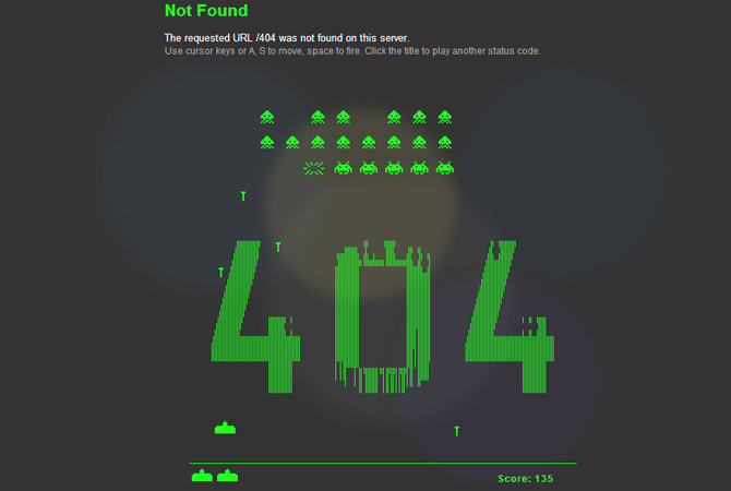 Inspiration : une 404 façon Space Invaders