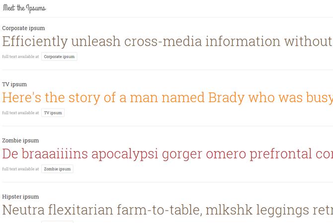 Meet the Ipsums : des générateurs de faux texte créatifs