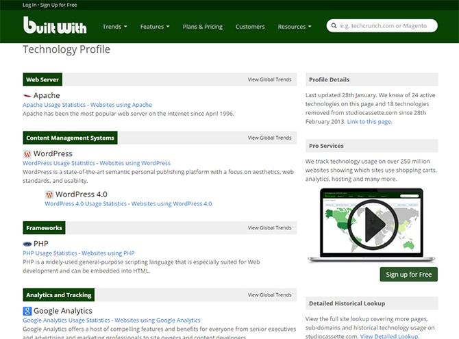 BuiltWith vous révèle comment sont construits les sites web