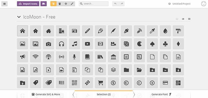 IcoMoon : l'appli online d'icônes aux multiples possibilités