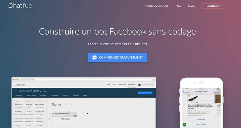 Créez simplement votre propre bot facebook avec Chatfuel