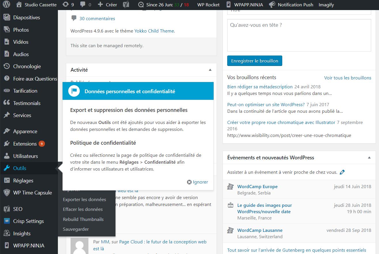 Comment Wordpress vous aide à vous conformer au RGPD 3