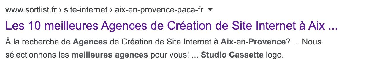 Studio Cassette parmi les 10 meilleures agences web à Aix en Provence